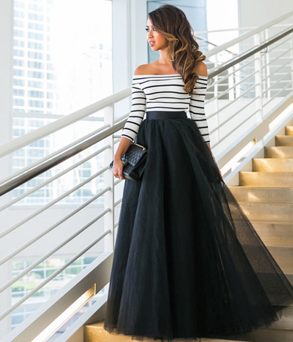 2PCS Women Lady Fashion Striped Tops Blouse Brief Long Sleeve Off Shoulder Maxi Striped Party Long Skirt Set 2pcs Summer Lady