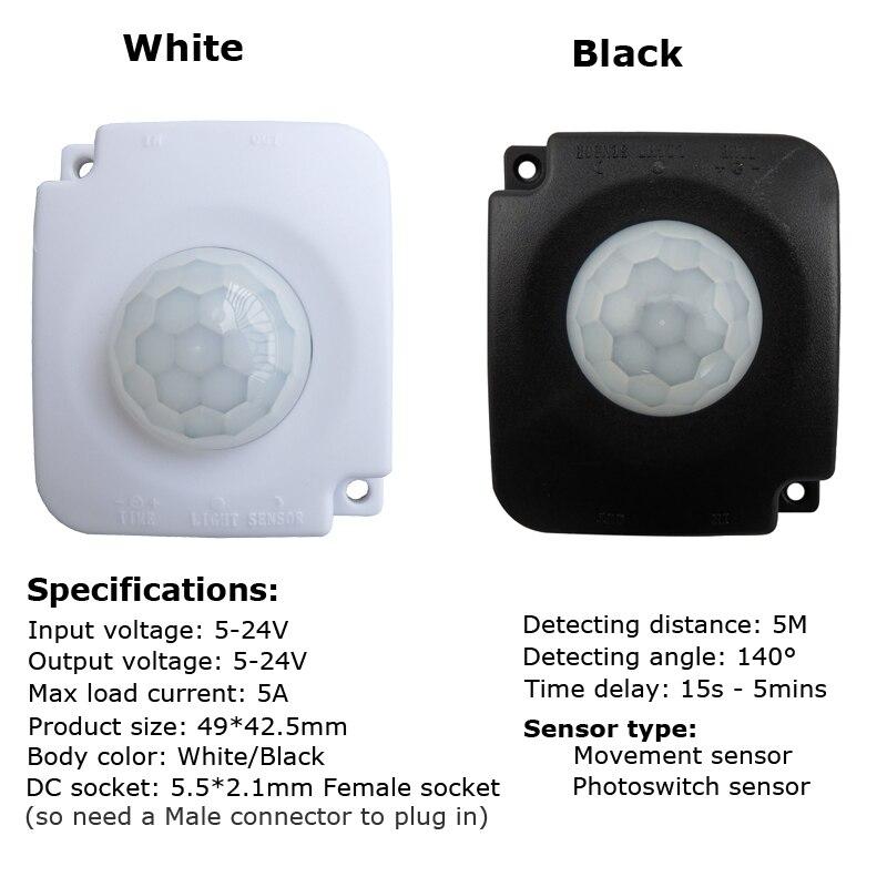 FÜHRTE Streifenlicht Bewegungsmelder Schalter 12 V 24 V 5 V Bewegung Sensor Automatische Infrarot Timer Detektor PIR schalter Photo