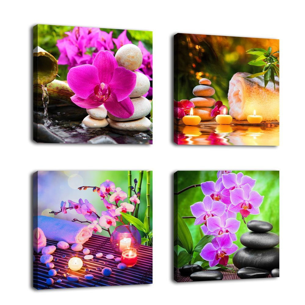 Wall Art Canvas Zen Art Decor SPA Stone Green Bamboo Pink Waterlily Pictures 4 Panels Modern Canvas Painting Prints