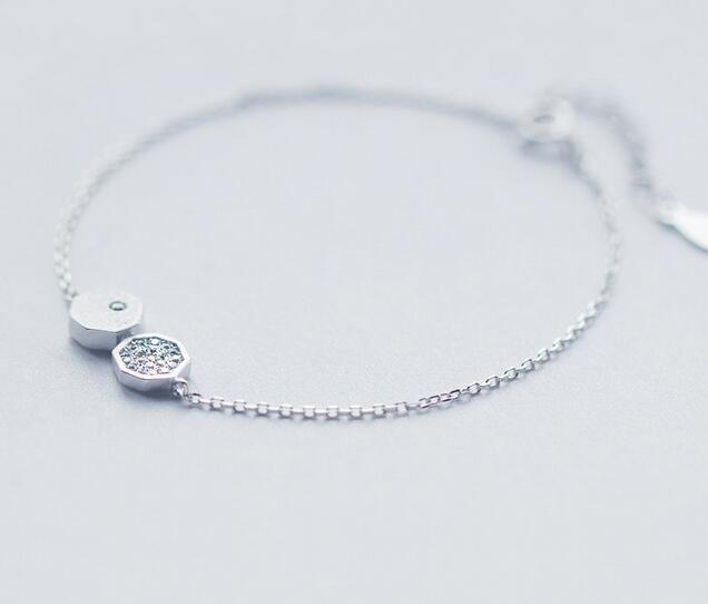 1 Stück 925 Sterling Silber Schmuck Weiß Cz Gepflasterte Geometrische Kette Armband Einstellbar Ls183
