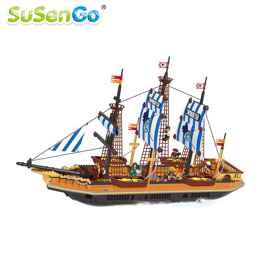 SuSenGo Pirate Model Toy Pirate Ship 857pcs Building Block Large Vessels Figures Kids Children Gift Compatible with Lepin lepin 22001 pirate ship imperial warships model building block briks toys gift 1717pcs compatible legoed 10210