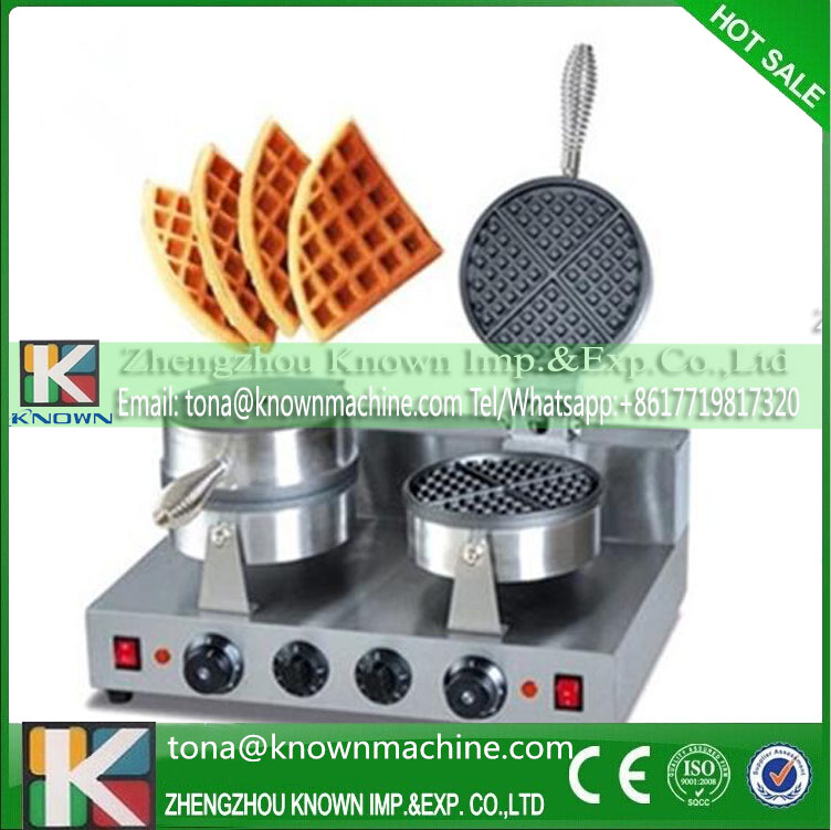 Double head waffle Baker Ice cream leather machine with Non-Stick Cooking Surface