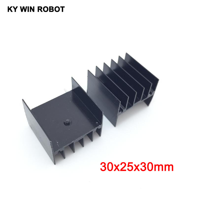 10pcs Black Aluminium TO-220 30x25x30mm Heatsink TO 220 Heat Sink Transistor Radiator TO220 Cooler Cooling 30*25*30MM With 2pin