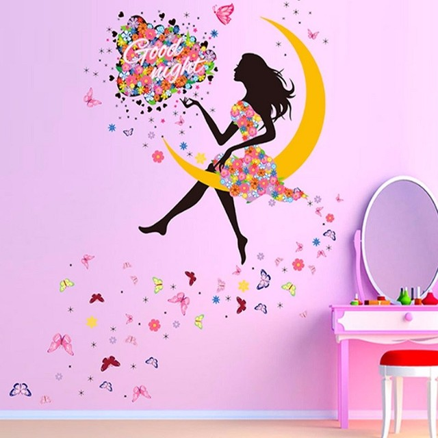 New Wall Art Sticker Good Night Moon Cute Girl Butterfly Vinyl Decal ...