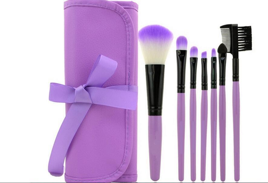 Pro 7 PCS Makeup Brushes Set Tools Make-up Toiletry Kit Wool Brand Make Up Brush Set Case Cosmetic Foundation Brush hot sale 2016 soft beauty woolen 24 pcs cosmetic kit makeup brush set tools make up make up brush with case drop shipping 31