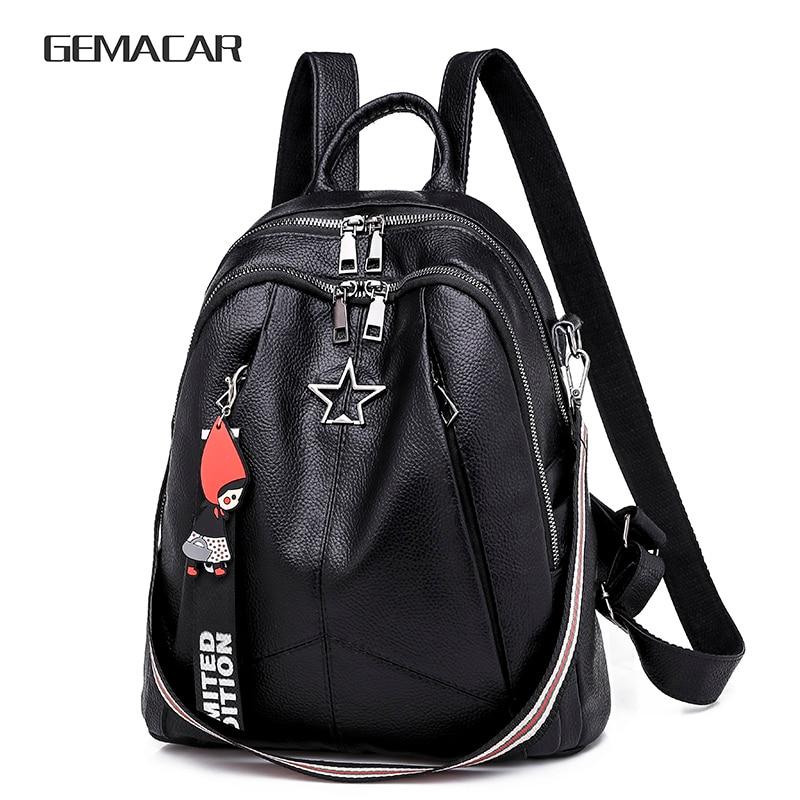 Minimalism Women Bags Pu Leather Female Backpack Beautiful Fashion Girl Casual Rucksacks  Female Bag Shoulder Lady Bags 2019 New