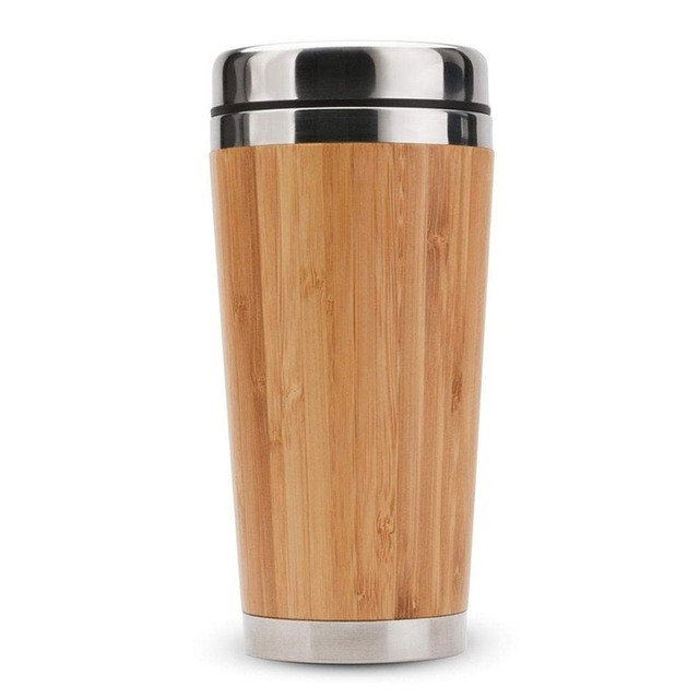 Bamboo Coffee Cup Stainless Steel Coffee Travel Mug With Leak-Proof Cover Insulated Coffee Accompanying Cup Reusable Cup 1