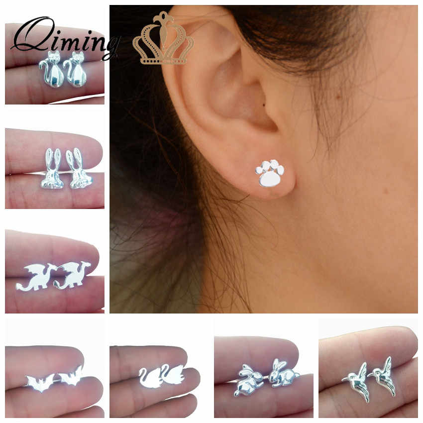 QIMING Silver Baby Kids Earrings For Women Female Cat Paw Swan Hummingbird Animal Pendant Bohemia Earring Cheap Jewelry Stud