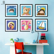 Lovely Sweet Kids Room Decoration Pictures That Includes Cartoon-like Moon Bear Dog Swan Family Member Made By Canvas Materials