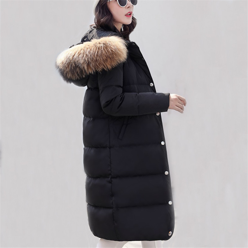 New Winter Women White Duck Down Jacket Hooded Warm Thick Down Parka Coat Female Large Fur Collar Long Coats Plus Size 4XL AB676