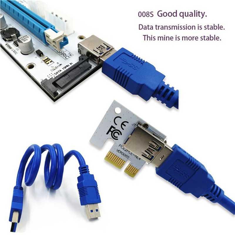 Aaaj-ver 008S Pci-E Riser Express 1X do 16X kabel przedłużający obraz Usb 3.0