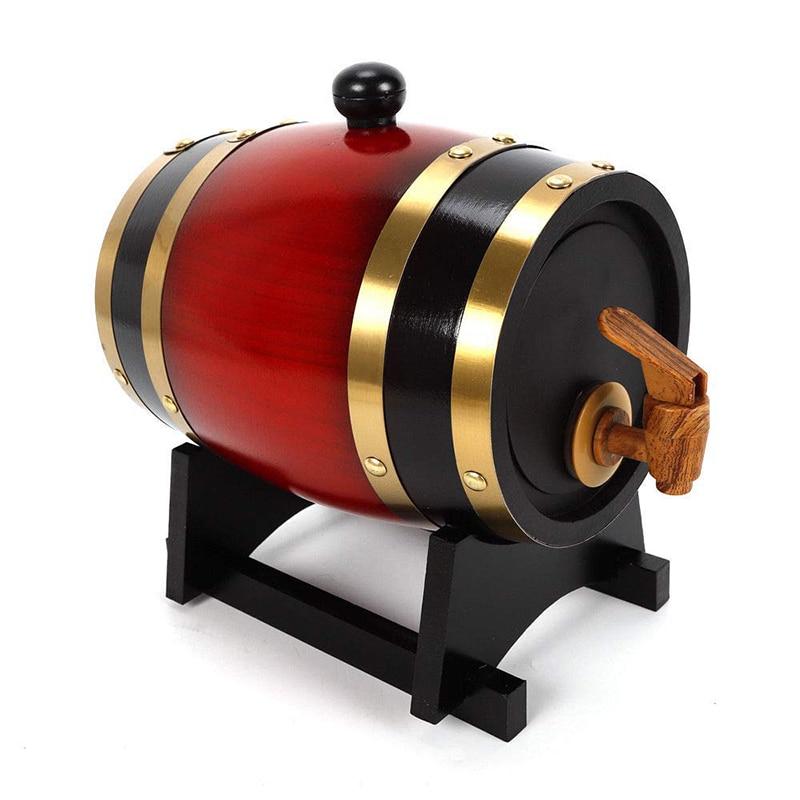 UPORS Vintage Wood Oak Barrel 1.5/3L Keg Beer Brewing Equipment Wooden Wine Barrel Dispenser for Rum Pot Whisky Wine Accessories
