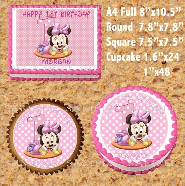 Minnie Maus Essbaren Kuchen Topper Wafer Reis Papier Für Kuchen
