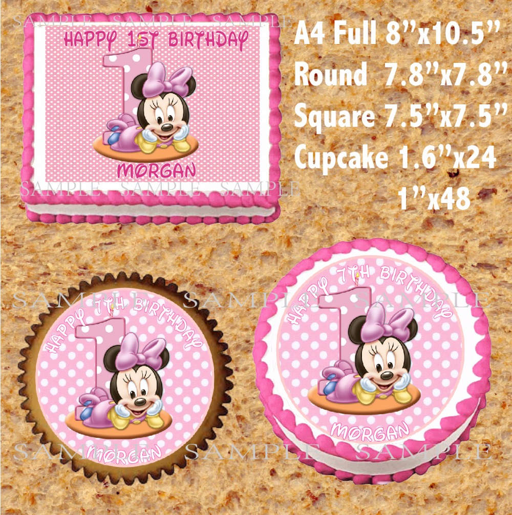 Tremendous Minnie Mouse Edible Cake Topper Wafer Rice Paper For Cake Funny Birthday Cards Online Alyptdamsfinfo