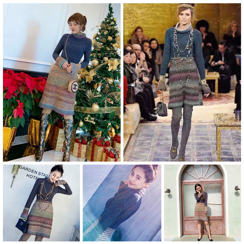 Autumn Winter Small Fragrant Wind Knitted Dress Women Retro Slim Sexy Dresses Ladies Basic Dress