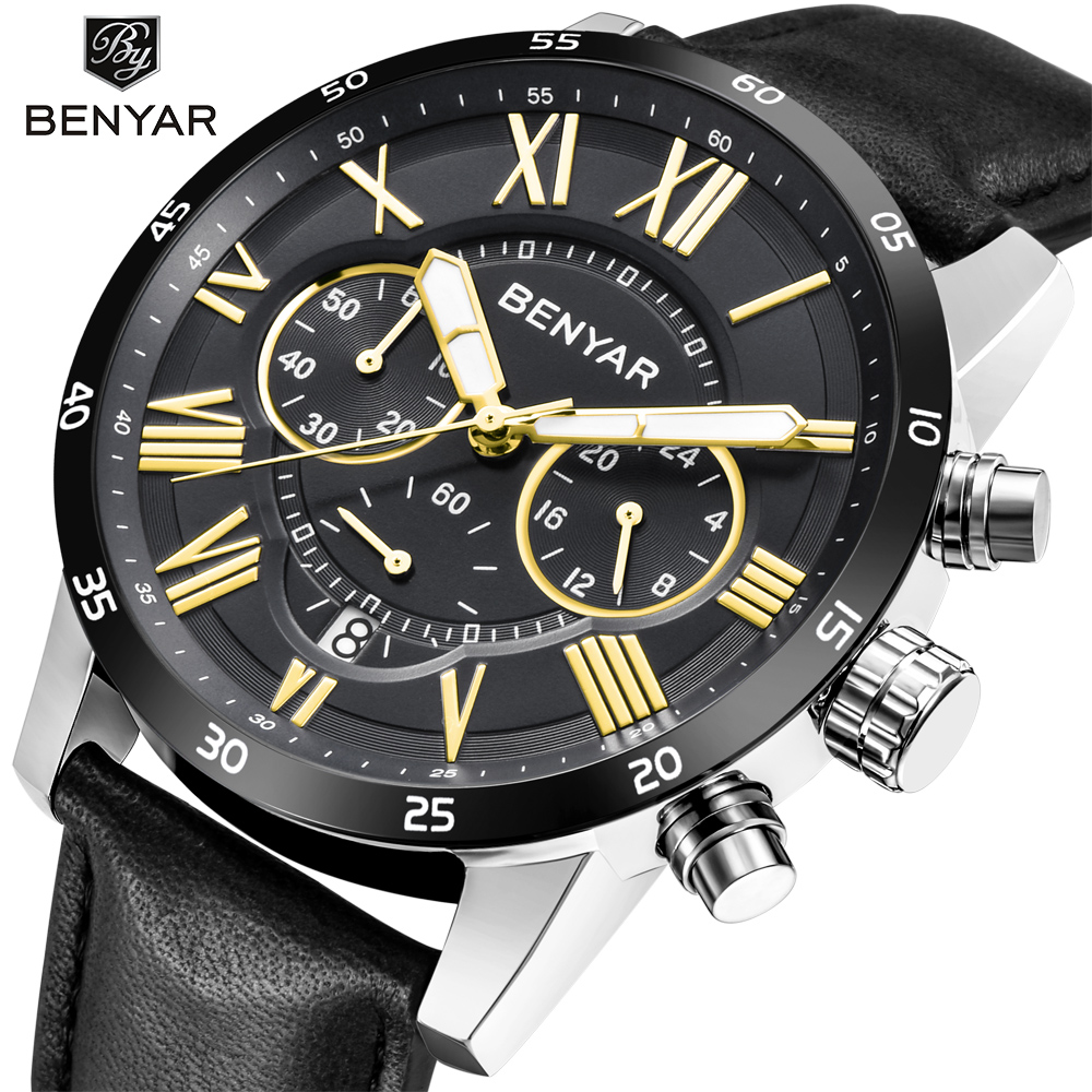 Reloj Hombre 2018 Top Brand Luxury BENYAR Fashion Chronograph Sport Mens Watches Military Quartz Watch Clock Relogio Masculino candino c4602 4