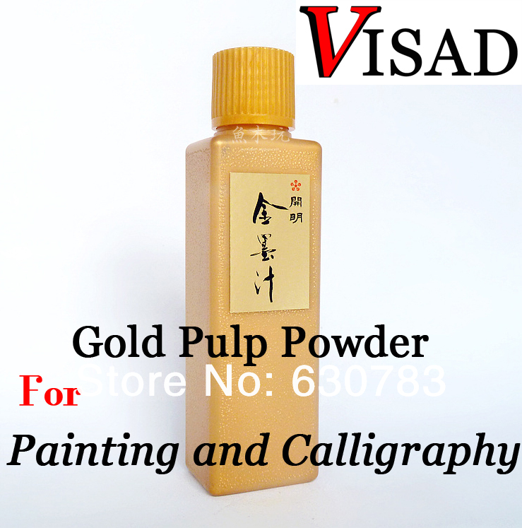 free shipping 100ml VISAD Gold dust with glue for painting and calligraphy, water color paints Gold Pulp Powder Gouache paint kitepie542lim201710 value kit rock paint distributing corp tempera paint lim201710 and elmer s washable all purpose school glue sticks epie542