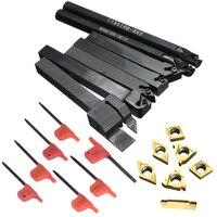 7pcs Golden Alloy Inserts 7pcs 10mm Boring Bar Lathe Turning Tool Holder T8 Wrenches