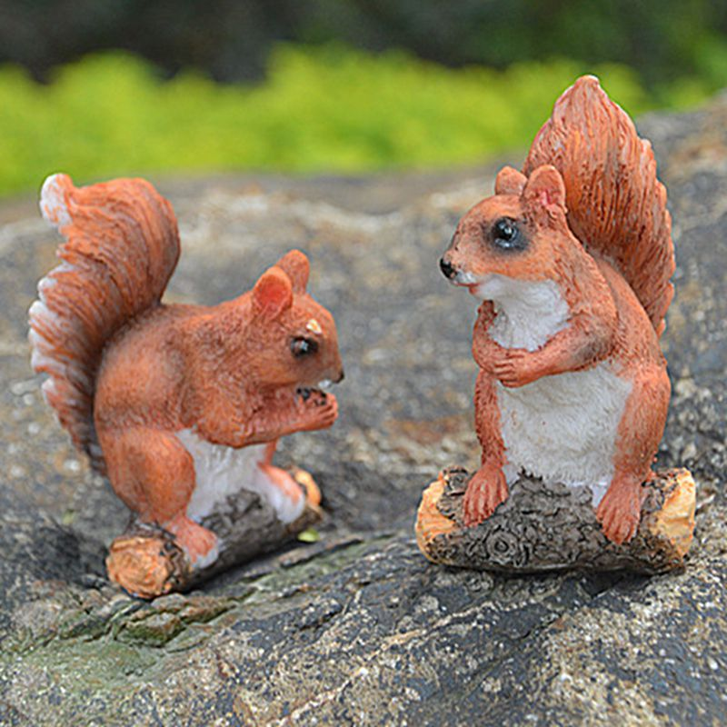 2X Resin Sculpture Squirrel for Garden Ornaments Collectible Crafts Outdoor Home
