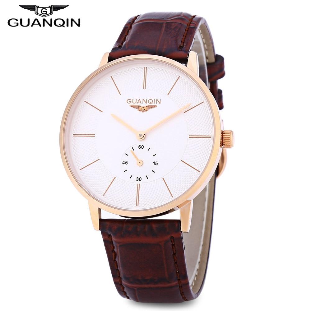 GUANQIN Men Quartz Watch Working Sub dial 10ATM Genuine Leather Strap Wristwatch
