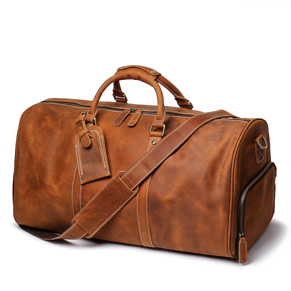 Vintage Crazy horse Genuine Leather Men Travel Bags Luggage Travel Bag Leather Men's Duffle Bags Large Men Weekend Bag-in Travel Bags from Luggage & Bags    1
