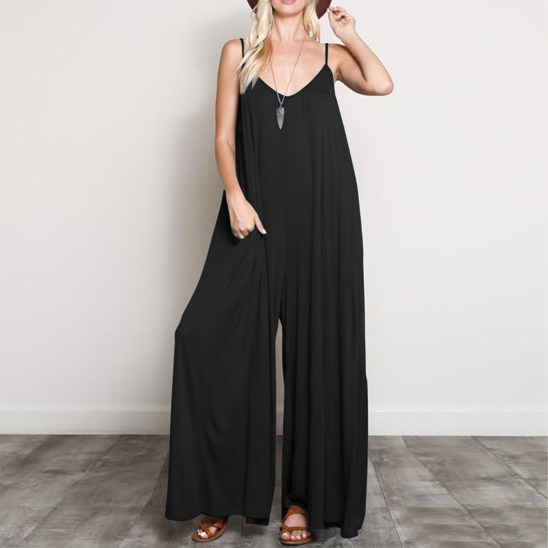 2018 ZANZEA Solid Wide Leg Pants Long Overalls Summer Women Sexy Deep V Neck Strappy Sleeveless Party Rompers Loose   Jumpsuits