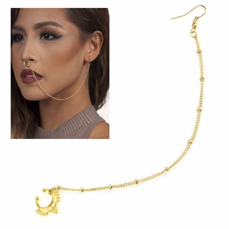 Stainless Steel Nose Rings and Studs Fake Septum Piercing Crystal Nose Hoop Fake Nose Rings Studs Ear Chain Women Body Jewelry
