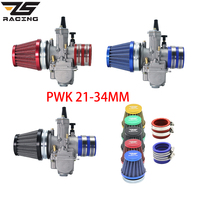 ZS Racing Motorcycle 21 24 26 28 30 32 34mm Carburetor + Air Filter + Intake Red Color Set Manifold Boot Holder For ATV Scooter
