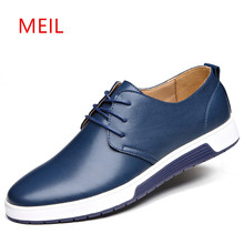 MEIL Brand Men Shoes Trendy Black Blue Brown Flat Genuine Leather Designer Breathable Mens Casual shoes winter snow