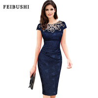 FEIBUSHI Womens Embroidery Elegant Vintage Hollow Out Embroidered Ruched Party Pencil Bodycon Dobby Fabric Evening Party