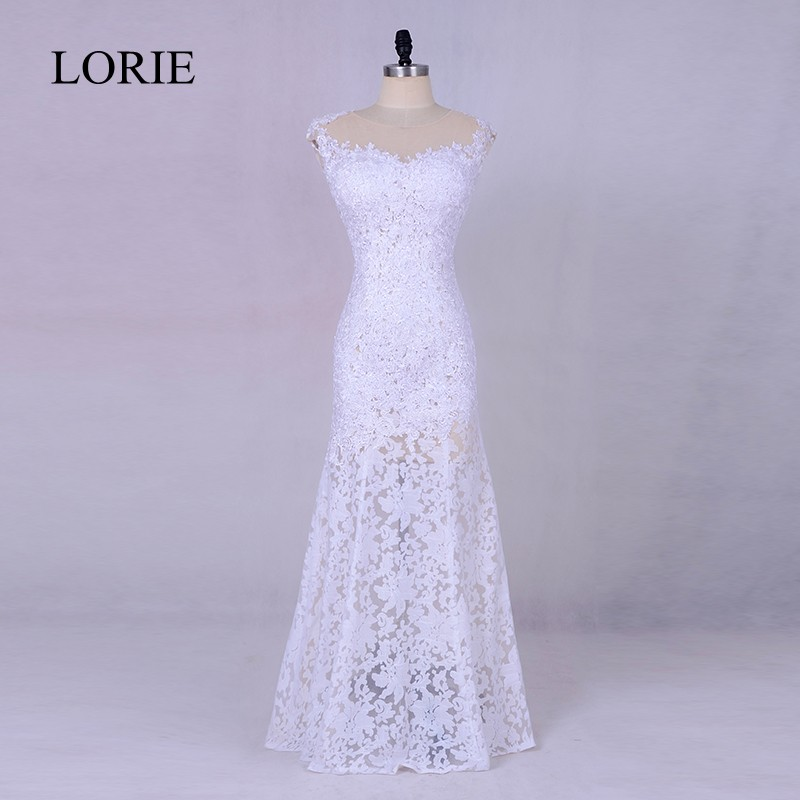 Simple White   Evening     Dress   2018 LORIE New Arrival Vintage Lace Mermaid Prom   Dresses   Long Formal Party Gowns Floor Length