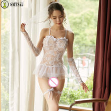 SMTZZJ Sexy Lingerie Hot Underwear Set Women Mesh Bras Briefs Dress Floral Erotic Cosplay Bride Wear Suit Porno Halter Thin Veil(China)
