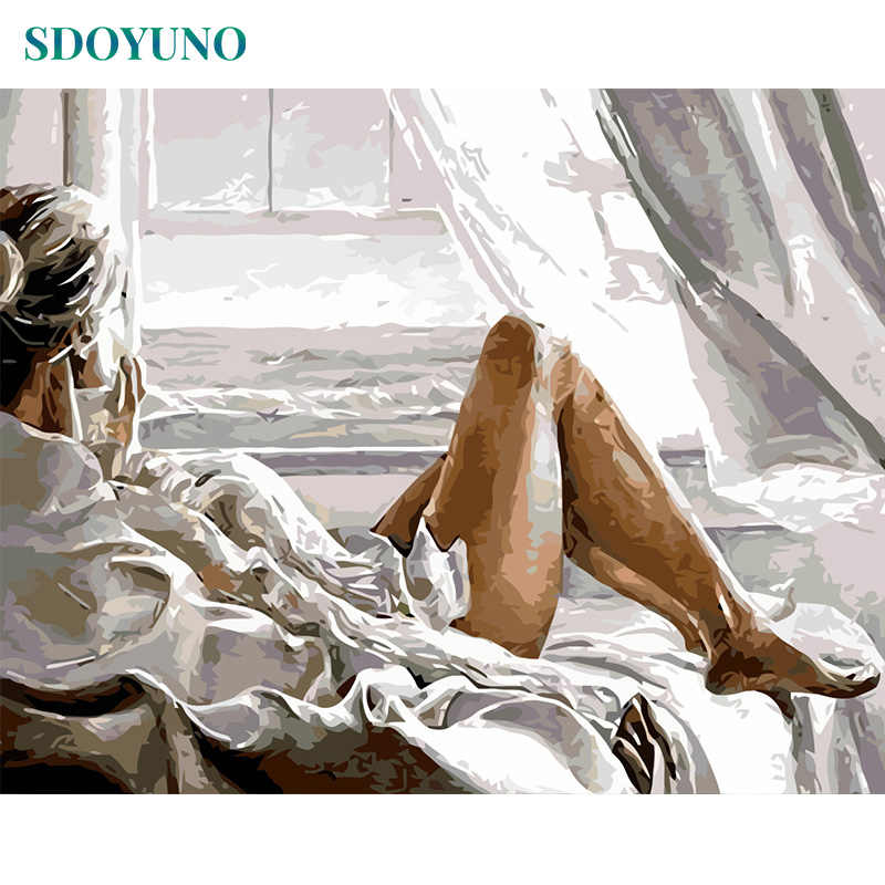 SDOYUNO Frameless 50x65cm Girl by the sea nature Painting By Numbers For Adults Room Decoration Modern DIY Wall Decor For Gift