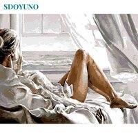 SDOYUNO-pintura por números de chica por mar sin marco, 50x65cm, decoración de habitación de adultos, decoración de pared bricolaje moderna para regalo