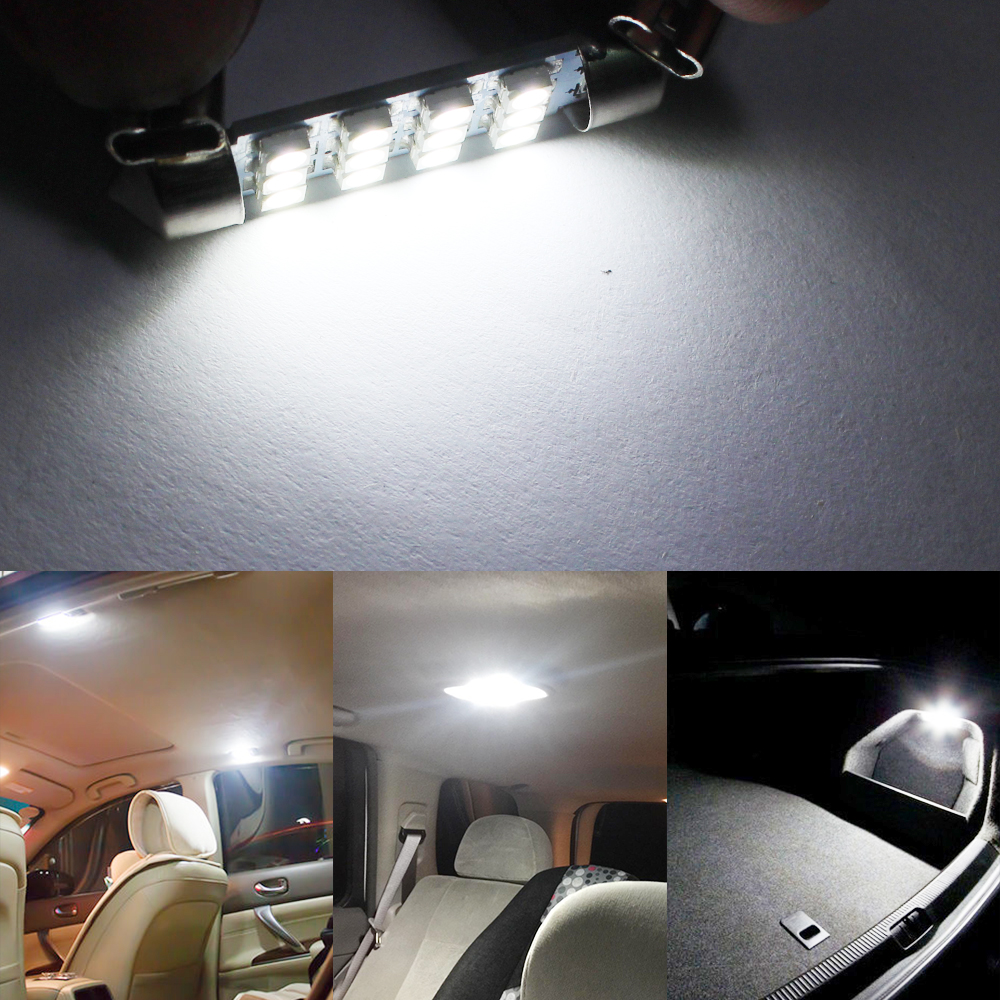 10pcs Car Interior Led Light Festoon C5W 41mm 12SMD 3528 Car Interior LED  Dome Light Bulbs Auto Map Reading Lamp White DC 12V In Signal Lamp From ...