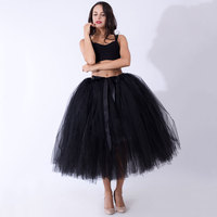 2018Fashion Women Puffy Tutu Skirts 80cm Long Tulle Skirts With Satin Sashes Bridesmaid Overskirt Lolita Christmas gift for girl
