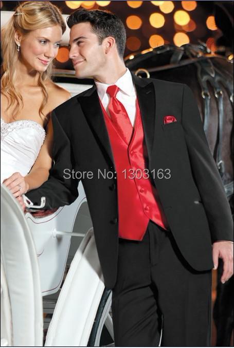 Estilo Traje negro Chaleco rojo Novios Esmoquin El mejor hombre Pico Satén Solapa Padrino de boda Hombres Trajes de boda Novio Chaqueta + Pantalones + Corbata + Chaleco
