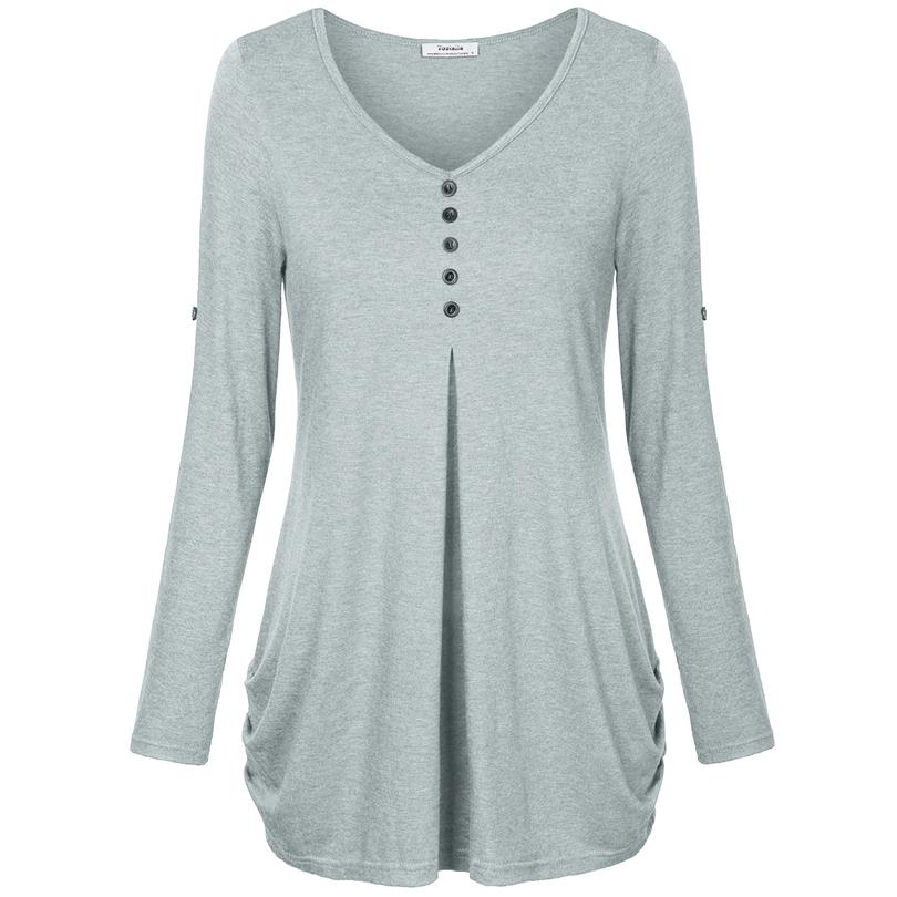 HTB1hkLgPFXXXXc0XFXXq6xXFXXX7 - New Women Summer T-shirt Button Long Sleeve Female