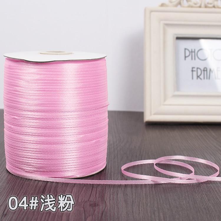 3 мм шелковые атласные ленты Рождество Хэллоуин Детский душ день рождения упаковка для свадебного подарка белый синий розовый зеленый фиолетовый ленты - Цвет: Pink