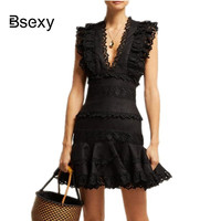 Runway Designer Brand Summer Dress Women Lace patchwork Ruffles Short Party Dress Sexy V neck Black White Dress robe femme