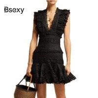 Runway Designer Brand Summer Dress Women Lace patchwork Ruffles Short Party Dress Sexy V neck Black White Dress robe femme