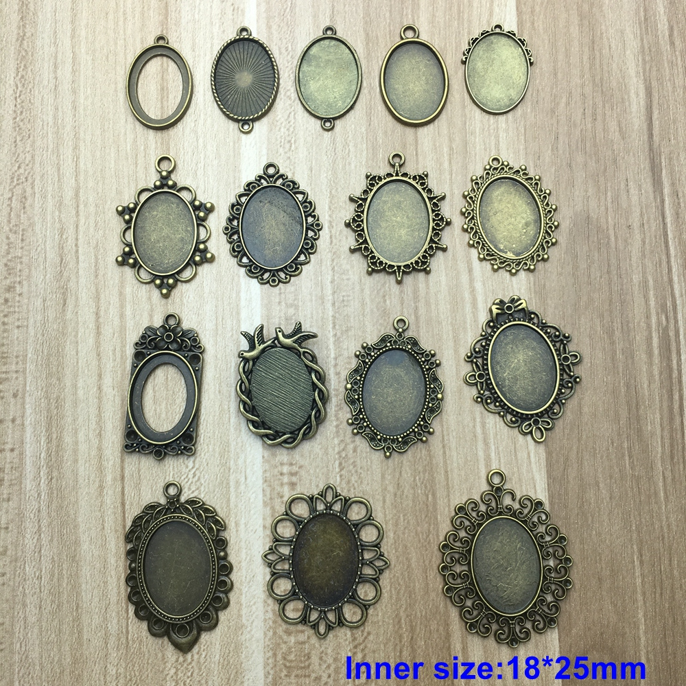 Tenacity Peiao 10PCS Fit 18*25mm Charm Pendants Oval Antique Bronze Plated Cameo Cabochon Base Setting Pendant Tray DIY Jewelry mibrow 10pcs lot stainless steel 8 10 12 14 16 18 20mm blank french lever earring tray cabochon setting cameo base jewelry
