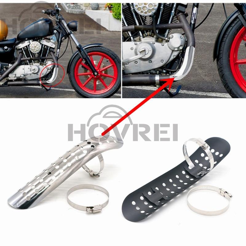 Motorcycle Black Exhaust Muffler Pipe Heat Shield Cover Heel Guard For Harley