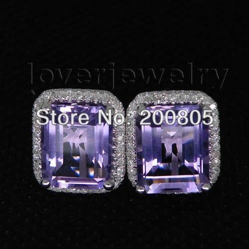 Big Sale 100% Natural Diamond Emerald Cut Amethyst Stud Earrings 14K White Gold Women Fine Jewelry Earrings jewlery sets vintage solid 14k white gold green amethyst diamond earrings for women fine amethyst jewelry