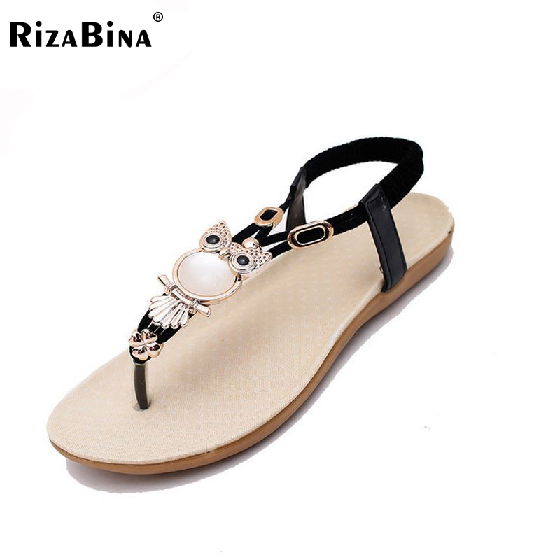 RizaBina woman sandals  summer flat sandals ladies leisure bohemia beach flip flops shoes women flats  sandals size35-39 WD0038 pink vietnam sandals flats female summer outdoor leisure shoes