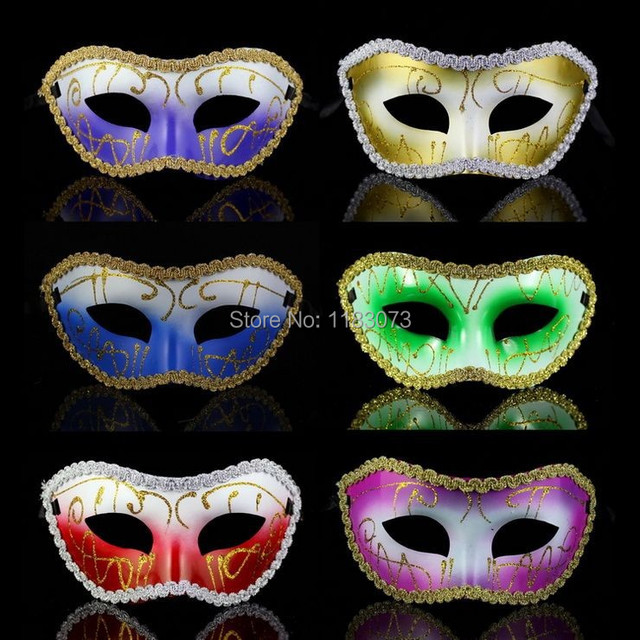 Sexy Venitian Mask Flat Painted Border Lag Carnival Party Charistmas Masquerade Props 100pcs Lot