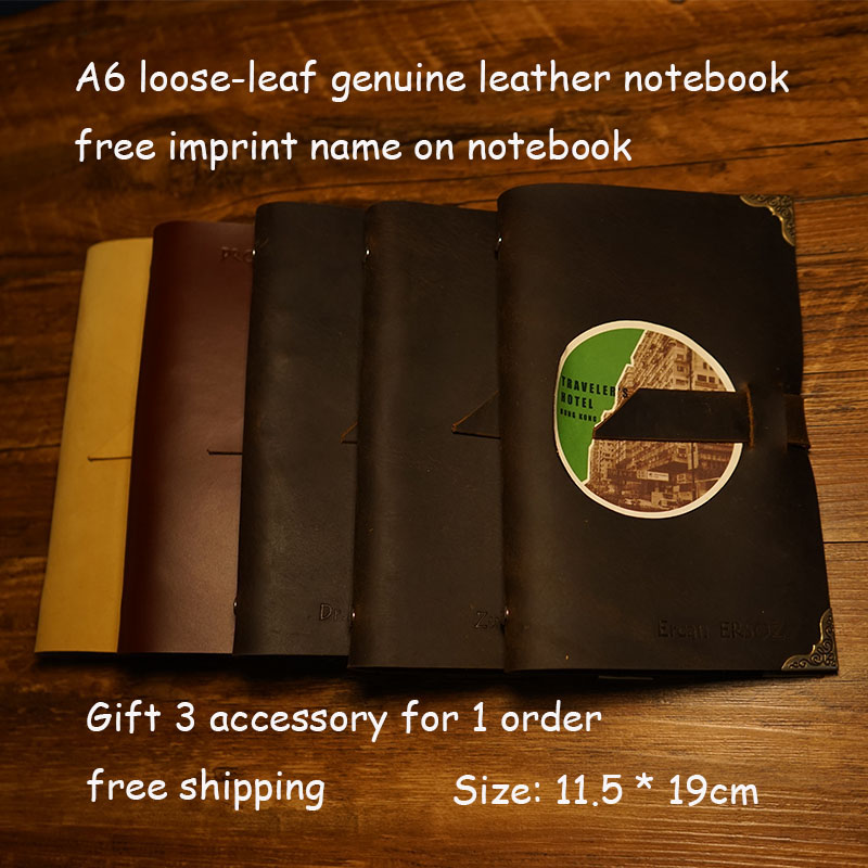 A6 A5 size handmade genuine leather jorunal travelers notebook loose leaf kraft blank 60 sheets school supplies