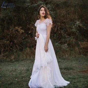 ZL1019 Boho New Vintage Cap Sleeves Lace Chiffon Beach Wedding Dresses Bridal Gown Celebrity vestido De Noiva robe de mariee