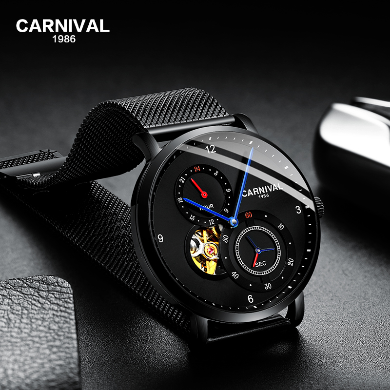 Carnival Men Automatic Watch Brief Ultra Thin Small Seconds Dial 24hours Luxury Mechanical Watch Mesh Band Hollow - 2