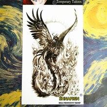 SHNAPIGN Black Phoenix Temporary Tattoo Body Art, 12x20cm Flash Tattoo Stickers, Waterproof Fake Tatoo Henna Tatto Wall Sticker